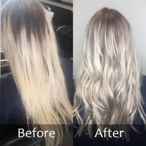 Hair Scene - Before and after long blonde hair