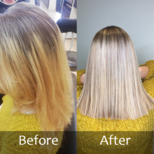 Hair Scene - Before and after blonde