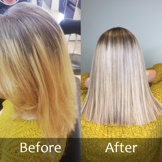 Before and after shorter blonde