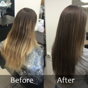 Hair Scene - Before and after dark colour