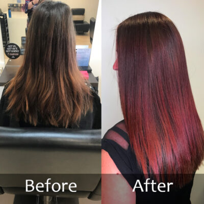 Long Red Hair - Before and After